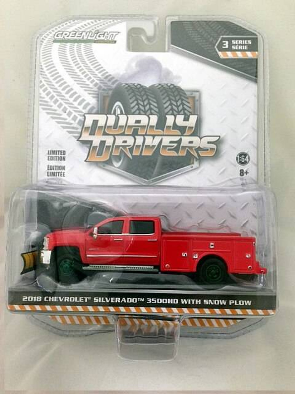 Greenlight 46030-A Dually Drivers Series 3-2018 Chevrolet Silverado 3500 Dually Service Bed with Snow Plow 1:64 Scale