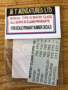 1/700 MT Miniatures Decal set for Type 12 Whitby Class Frigates