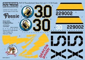 Warbird Decals 1/32 Warbird Decals P47 Ponnie, Deacon Dandy