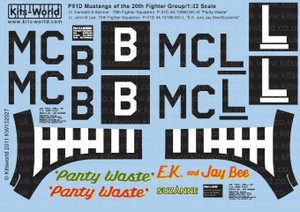 Warbird Decals 1/32 Warbird Decals P51D Panty Waste, EK and Jay Bee Suzanne