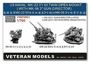 Veteran Models 1/700 Veteran Models 3/50 MK-22 Twin Open Mount with MK-56 3 Gun Director