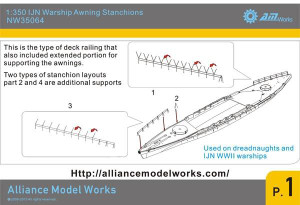 Alliance Modelworks 1/350 Alliance Modelworks IJN Warship Awning Stanchions
