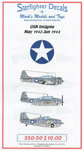 Starfighter Decals 1/350 Starfighter Decals USN Insignia May 1942 to June 1943