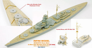 Infini Models 1/700 Infini Models Brass Mast and Ultra Slim Wood Deck for BISMARCK TR05711