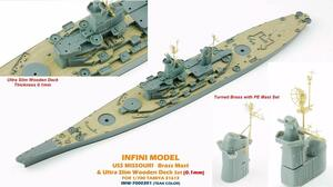 Infini Models 1/700 Infini Models Brass Mast and Ultra Slim Wood Deck for MISSOURI T31613 Teak Color