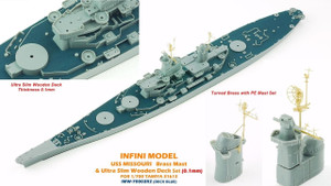 Infini Models 1/700 Infini Models Brass Mast and Ultra Slim Wood Deck for MISSOURI T31614 Deck Blue Color
