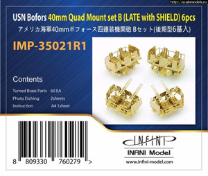 Infini Models 1/350 Infini Models USN Bofors 40 MM Quad Mount Set B Late with Shield 6 pcs