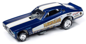 Johnny Lightning Johnny Lightning 50th Anniversary 1/64 2A - Hawaiian 1970s Dodge Charger Funny Car, Deep Metallic Blue, 1971 Graphics