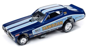 Johnny Lightning Johnny Lightning 50th Anniversary 1/64 2B - Hawaiian 1970s Dodge Charger Funny Car, Deep Metallic Blue, 1972 Graphics