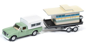 Johnny Lightning Johnny Lightning Hulls and Haulers 1/64 2019 2A - 1960s Studebaker Pickup, Green w/Houseboat