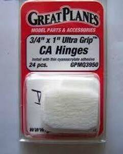 Great Planes Great Planes 3/4 x 1 Ultra Grip CA Hinges x24