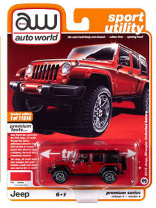 AutoWorld Auto World 1/64 2020 2A - 2018 Jeep Wrangler Sahara, Firecracker Red