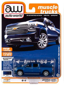 AutoWorld Auto World 1/64 2020 2A - 2019 Chevrolet Silverado High Country, Northsky Blue