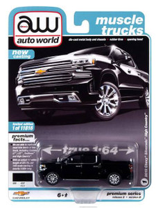AutoWorld Auto World 1/64 2020 2A - 2019 Chevrolet Silverado High Country, Gloss Black