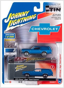 Johnny Lightning Johnny Lightning Collector Tin 1/64 R3 - 1972 Vega Panel Express in Mulsanne Blue