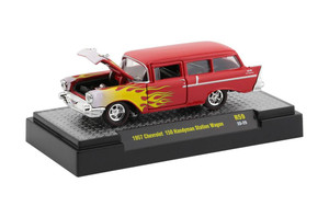 M2 Machines 1/64 M2 Machines Auto-Thentics 59 1957 Chevrolet 150 Handyman Station Wagon, Red w/ Flames