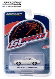 Greenlight Greenlight 1/64 1969 Chevrolet Camaro Z/28 in Dover White with Black Stripes and Red Interior