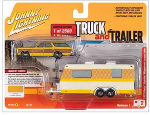 Johnny Lightning Johnny Lightning 1973 Chevy Caprice Station Wagon Chamois w/Camper Trailer 164 Diecast