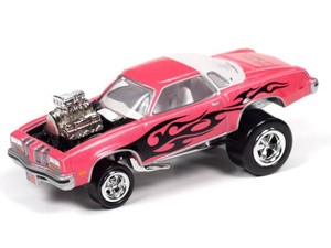 Johnny Lightning Johnny Lightning 1976 Oldsmobile Cutlass Zingers – Bright Pink Metallic w/Black Flames