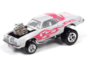 Johnny Lightning Johnny Lightning 1976 Oldsmobile Cutlass Zingers – Pearl White w/Bright Pink Flames