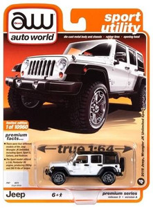 AutoWorld Auto World 1/64 2018 Jeep Wrangler JK Unlimited Sport 4 door Gloss White with Flat Black