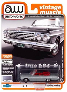AutoWorld Auto World 1/64 1962 Chevrolet Impala SS Convertible Satin Silver Poly
