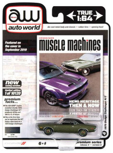 Auto World 1/64 Hemmings Muscle Machines – 1970 Dodge Challenger R/T F8 Dark Green Metallic w/Flat Black Vinyl Roof