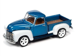 Johnny Lighting Johnny Lighting 1/64 1950 Chevrolet Truck Custom Metallic Blue and White 2-Tone