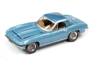 Johnny Lighting Johnny Lighting 1/64 1965 Chevrolet Corvette Hardtop Mist Blue