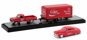 M2 Machines 1/64 M2 Machines Coca-Cola Auto Haulers 1969 Ford F-250 Ranger Truck with Trailer and 1949 Mercury Custom