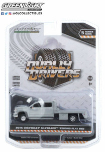 Greenlight 1/64 Greenlight 2015 Chevrolet Silverado 3500 Dually Flat Bed - Silver Ice Metallic