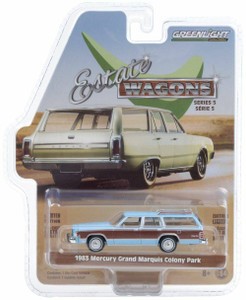 Greenlight 1/64 Greenlight 1983 Mercury Grand Marquis Colony Park - Light Cadet Blue Iridescent with Woodgrain