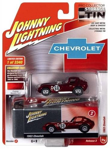 Johhny Lightning 1/64 Johhny Lightning 1963 Cheetah Metallic Red with Collector Tin