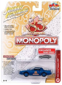 Johhny Lightning 1/64 Johhny Lightning Monopoly 1985 Chevrolet Camaro and Token Stratto Blue