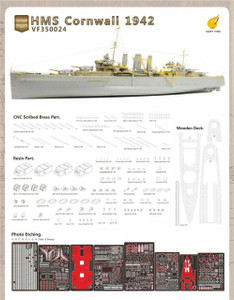 Very Fire 1/350 Very Fire Models HMS Cornwall Detail Up SetFor Trumpeter