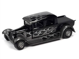 Johhny Lightning 1/64 Johhny Lightning 1929 Ford Crew Cab Truck Black With Flames Gloss Black with Silver Flames