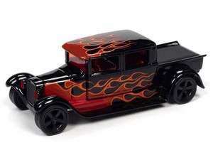 Johhny Lightning 1/64 Johhny Lightning 1929 Ford Crew Cab Truck Black With Flames Gloss Black w/ Red Flames