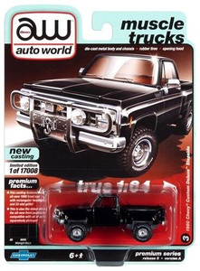 Auto World 1/64 Auto World 1980 Chevrolet Custom Deluxe 10 Step Side Truck Gloss Black and Front Push Bar Diecast