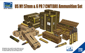 Riich Models 1/35 Scale US M1 57mm & 6PR 7cwt (BR) Ammunition Set(Model kits x4)