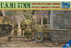 Riich Models 1/35 Scale U.S. M1 57Mm Anti-Tank Gun Early Version On M1A3 Carriage W/Crews (5 Figures)