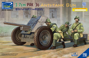 Riich Models 1/35 Scale German 3.7 Cm Pak 36 Anti-Tank Gun (Model Kits X2) W/Metal Gun Barrel