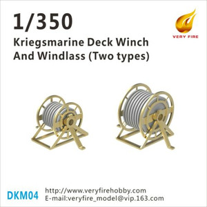 Very Fire 1/350 Scale DKM Kriegsmarine Deck Winch and Windlass (2 Types, 22 Sets)