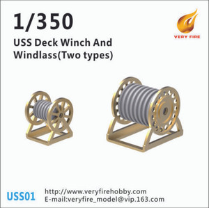 Very Fire 1/350 Scale USS Deck Winch and Windlass (2 Types, 30 Sets)