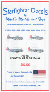 Starfighter Decals 1/700 Scale Decals and Accessories for Aircraft Carrier Modelers Lexington Air Group 1941-42