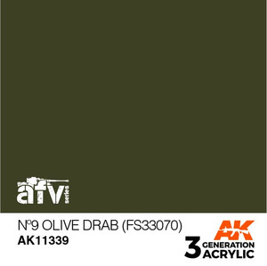 AK Interactive 3rd Generation Paint - Olive Drab No.9 (FS33070)