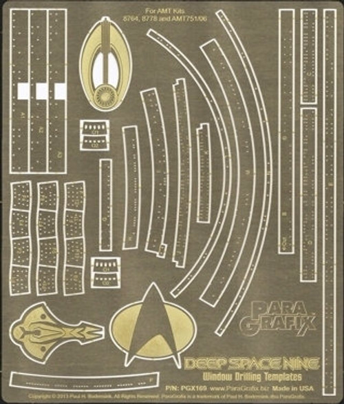 Paragrafix 1/3300 Star Trek Deep Space 9 Window Drilling Template Photo Etch Set for AMT