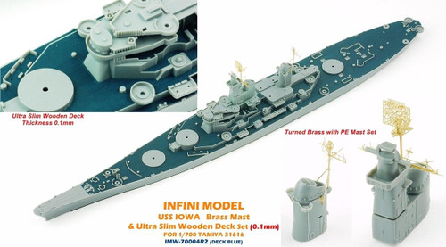 Infini Models 1/700 Infini Models Brass Mast and Ultra Slim Wood Deck for IOWA T31617 Deck Blue Color