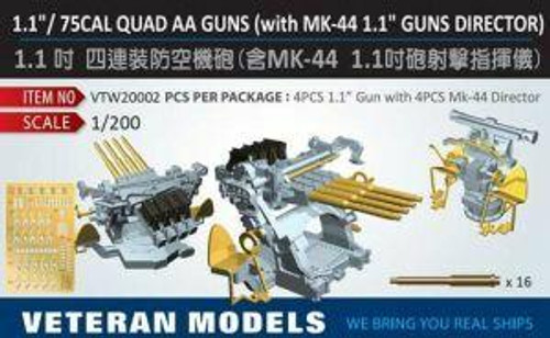 Veteran Models 1/200 Veteran Models 1.1/ 75 Cal Quad AA Guns with MK-44 1.1 Guns Director