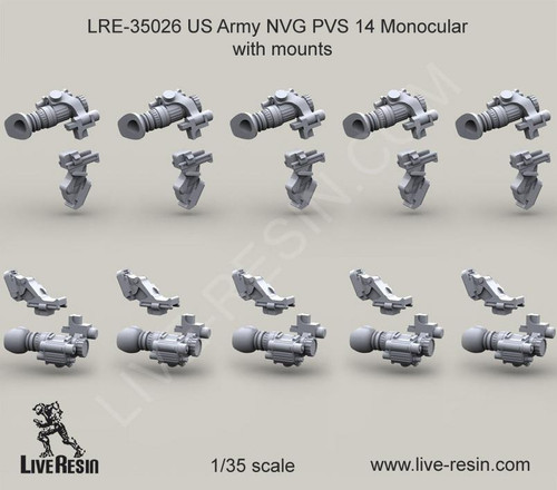 Live Resin 1/35 Live Resin US Army NVG PVS 14 Monocular with mounts