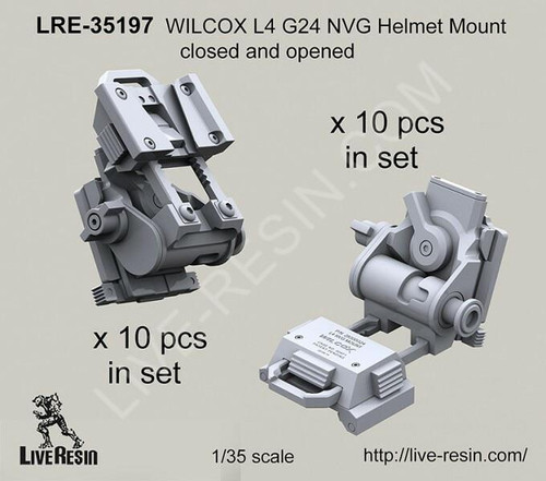 Live Resin 1/35 Live Resin WILCOX L4 G24 NVG Helmet Mount closed and opened